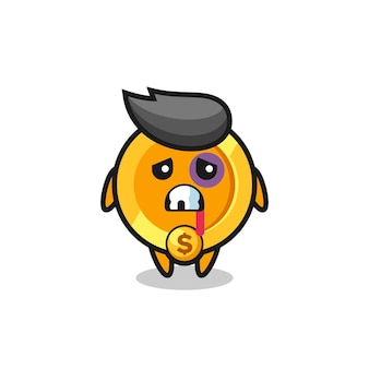 Gewond dollar valuta muntkarakter met een gekneusd gezicht, schattig stijlontwerp voor t-shirt, sticker, logo-element