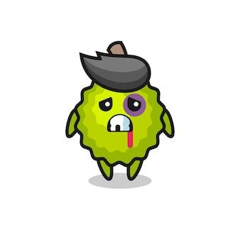 Gewond durian-personage met een gekneusd gezicht, schattig stijlontwerp voor t-shirt, sticker, logo-element