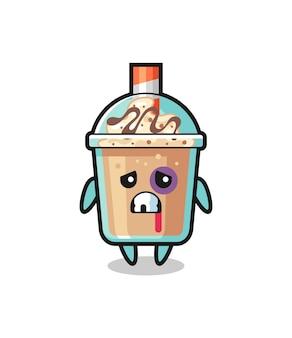 Gewond milkshakekarakter met een gekneusd gezicht, schattig stijlontwerp voor t-shirt, sticker, logo-element
