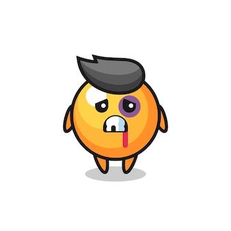 Gewond pingpongbalkarakter met een gekneusd gezicht