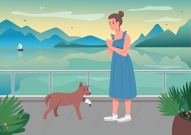 Gewonde huisdier met illustratie van de eigenaar de egale kleur
