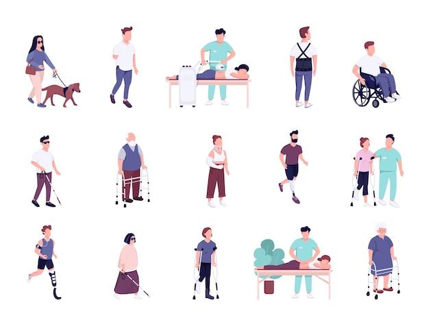 Gewonde mensen met een handicap activiteiten egale kleur gezichtsloze tekenset. man en vrouw met fysieke trauma's revalidatie geïsoleerde cartoon illustraties op een witte achtergrond