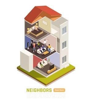 Gewone buren betwisten isometrische compositie met flatbewoners die last hebben van lawaaioverlast op feestjes van luide muziek