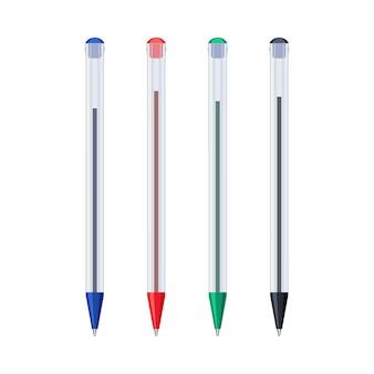 Gewone gekleurde balpennen in transparante plastic etui set. schrijven van school- en kantoortools collectie. platte vectorillustratie geïsoleerd op een witte achtergrond