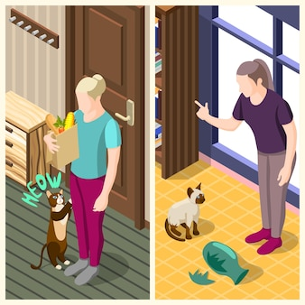 Gewone leven van de mens en zijn kat verticale isometrische banners met interieur geïsoleerde vectorillustratie