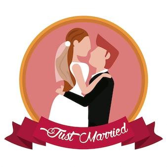 Gewoon getrouwd bruidegom dragende bruid label