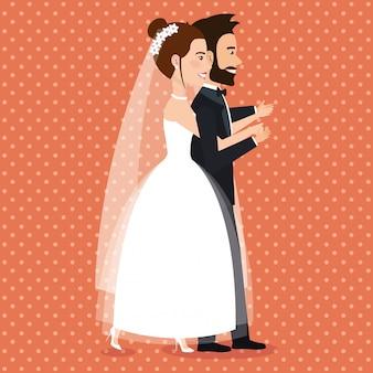 Gewoon getrouwd paar avatars tekens