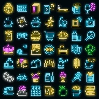 Gewoonte pictogrammen instellen. overzicht set van gewoonte vector iconen neon kleur op zwart