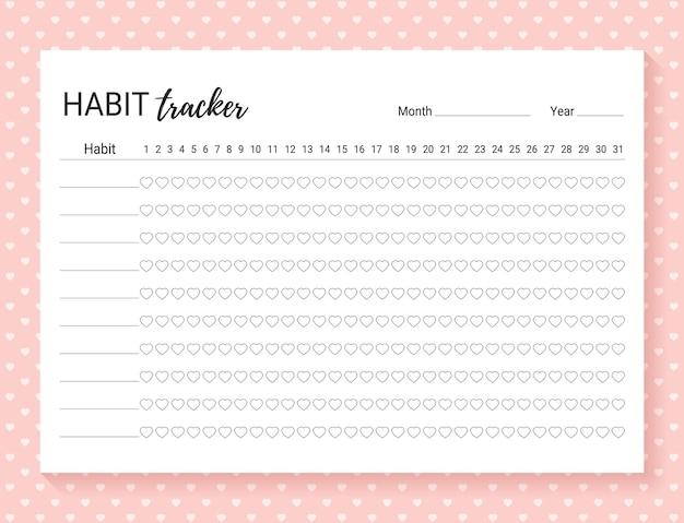 Gewoonte tracker dagelijkse sjabloon gewoonte dagboek voor maand dagboekplanner met opsommingstekens