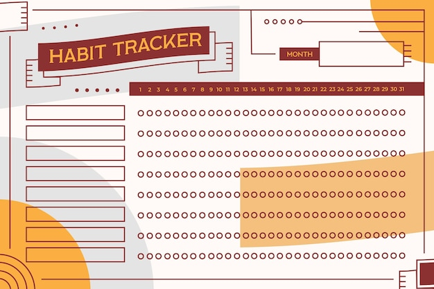 Gewoonte tracker-sjabloon in vintage stijl