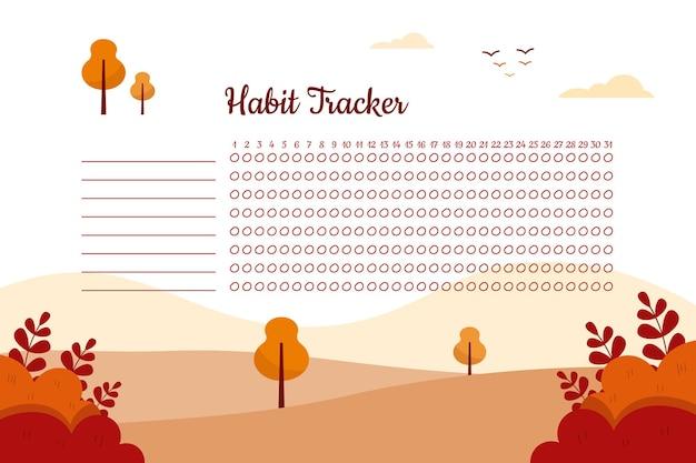 Gewoonte tracker-sjabloon met bergen en bomen