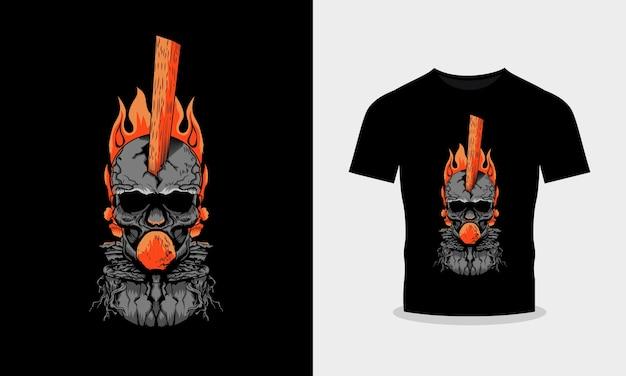 Gewortelde schedel vuur illustratie