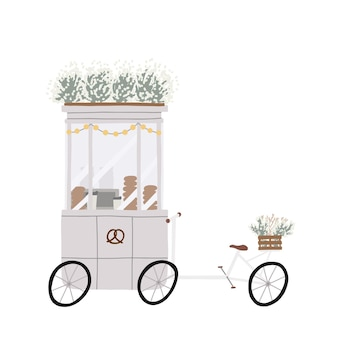 Gezellig café, mobiele fiets en afvalbak op wielen voor het verkopen van fastfood.
