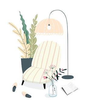 Gezellig interieur om een boek te lezen en te ontspannen. sfeer binnenshuis, design bank en lampenkap. vrije tijd en dagelijkse rustruimte, lege binnenlandse illustratie.