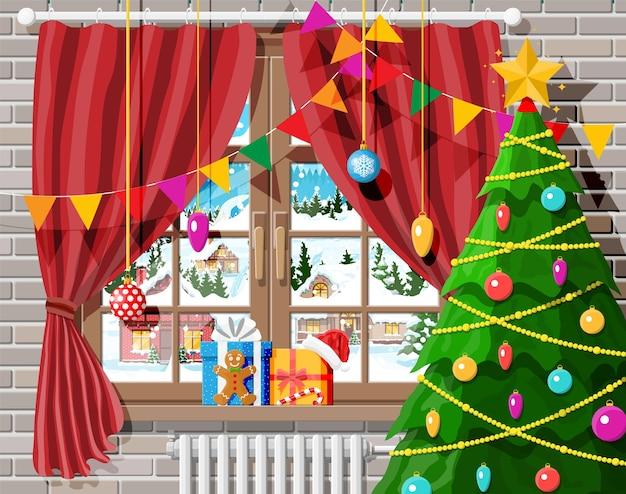 Gezellig interieur van kamer met kerstboom