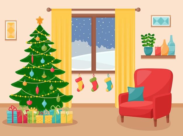 Gezellig wooninterieur met kerstboom. nieuwjaar ingerichte woonkamer. vector illustratie