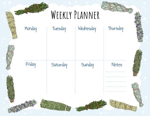 Gezellige boho weekplanner en to do list met smudge sticks ornament.