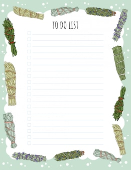 Gezellige boho weekplanner en to do list met smudge sticks ornament