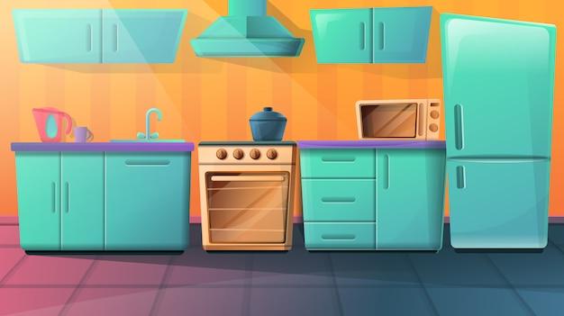 Gezellige cartoon keuken met keukenmeubelen, vectorillustratie