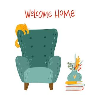 Gezellige fauteuil met hangende kat, boeken, vaas met bloemen