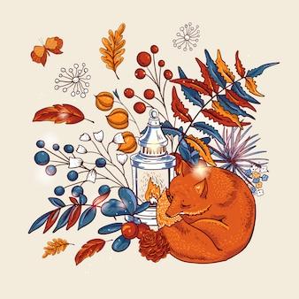 Gezellige herfst oranje bladeren, vossen, bloemen, dennenappel, bessen, pompoen, lantaarn en vlinders