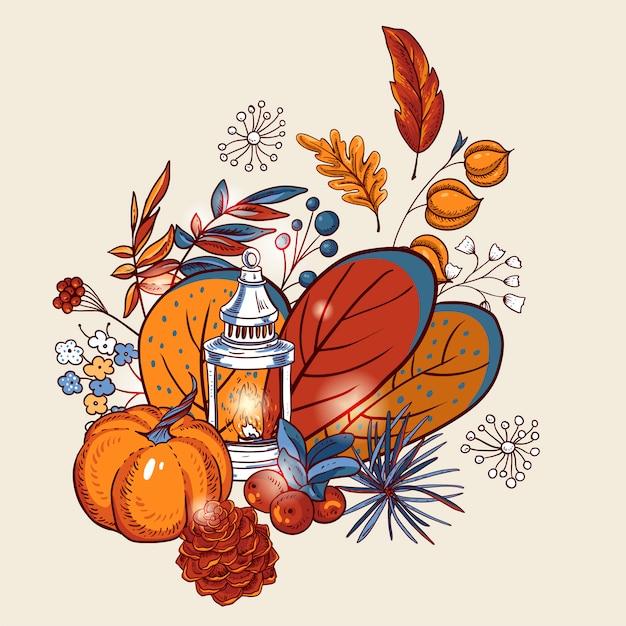 Gezellige herfst oranje esdoorn bladeren, bloemen, dennenappel, bessen, pompoen, witte lantaarn.