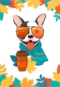 Gezellige herfstposter met franse bulldog