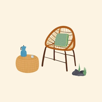 Gezellige houten buitenstoel en een rieten salontafel