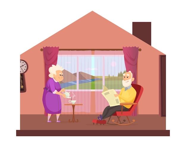 Gezellige huiselijke levensstijl. het bejaarde echtpaar drinkt thuis thee