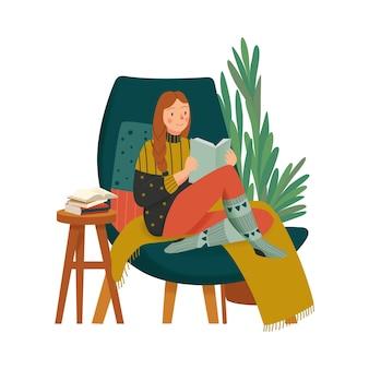 Gezellige huissamenstelling met karakter van een meisje in warme kleren die een boek lezen in de illustratie van de loungestoel