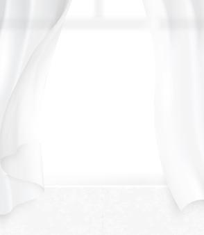 Gezellige interieur achtergrond met pure gordijn waait in de wind, 3d illustratie