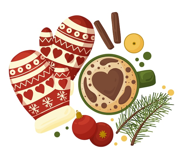 Gezellige kerstmissamenstelling met kop koffie