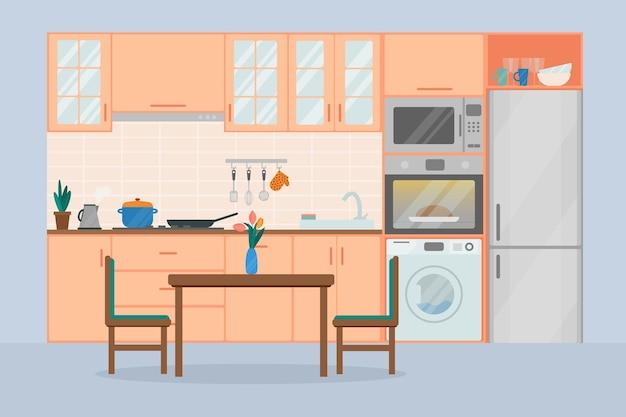 Gezellige keuken interieur, platte vectorillustratie.
