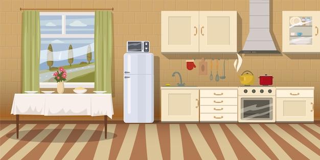 Gezellige keukeninterieur met tafel, fornuis, kast, servies en koelkast
