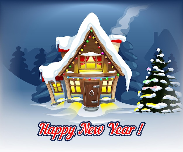 Gezellige nieuwjaarsillustratie met een huis in het midden en een kerstboom aan de zijkant. kerstkaartmodel.
