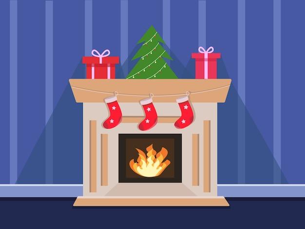 Gezellige open haard met kerstkousen illustratie