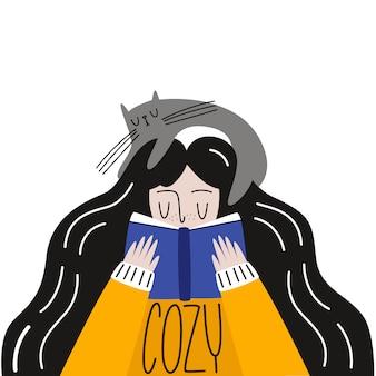 Gezellige sfeer. vectorillustratie: een meisje in een sweatshirt met een kat die een boek leest. vlakke stijl