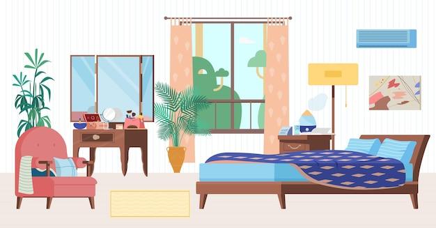 Gezellige slaapkamer interieur vlakke afbeelding. houten meubels, bed, fauteuil, kaptafel, raam, nachtkastje met luchtbevochtiger, klok, planten.