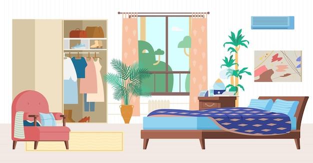 Gezellige slaapkamer interieur vlakke afbeelding. houten meubels, bed, fauteuil, kleerkast met kleren, raam, nachtkastje met luchtbevochtiger, klok, planten.