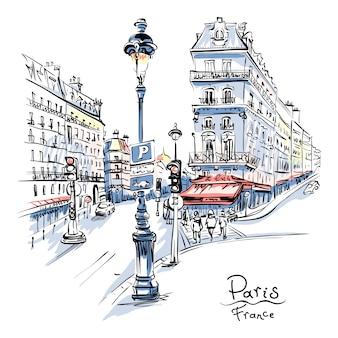 Gezellige straat in parijs, frankrijk