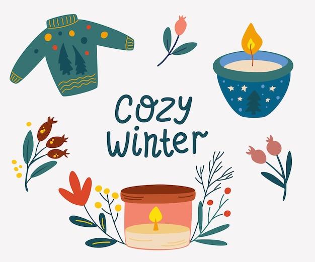 Gezellige winterelementen instellen. kaarsen, sweaterbessen en belettering. nieuwjaar en winter vakantie symbolen. schattige cartoon vectorillustratie.