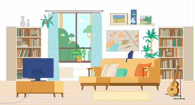 Gezellige woonkamer interieur. bank met kussens