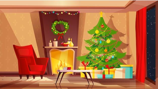 Gezellige woonkamer interieur ingericht voor kerstvakantie.