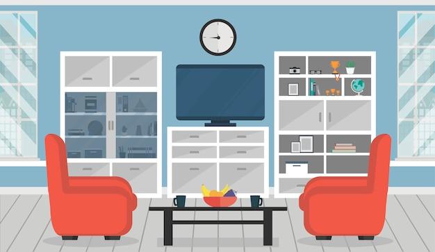 Gezellige woonkamer interieur met fauteuils, kasten, tafel, tv en raam.