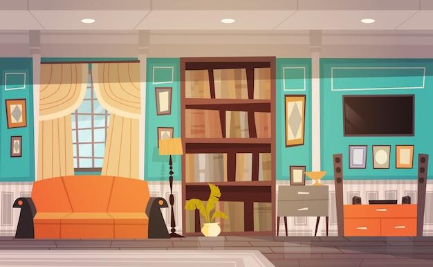 Gezellige woonkamer interieur met meubilair, raam, bank, boekenkast en tv