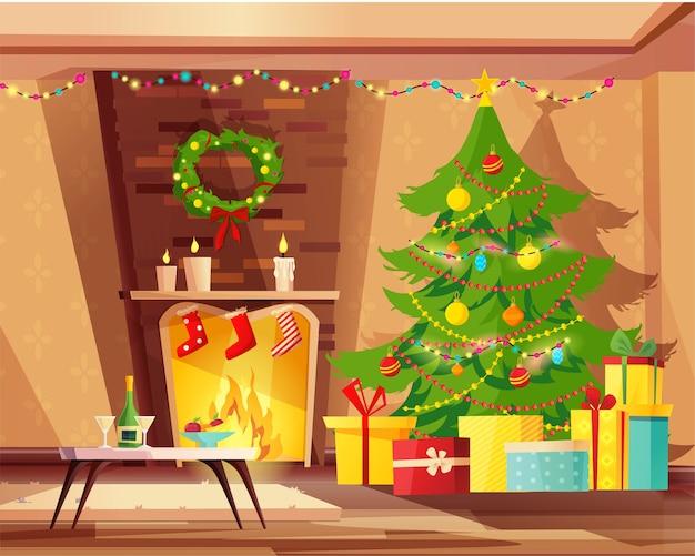 Gezellige woonkamer interieur met open haard ingericht voor kerstvakantie.