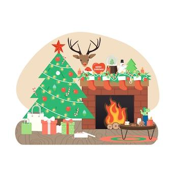 Gezellige woonkamer interieur met versierde kerstboom, open haard, geschenken, platte vectorillustratie.