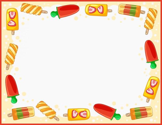 Gezellige zomerijs banner met trendy gelato ornament