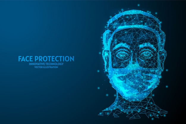 Gezicht beschermd door een medisch masker close-up. coronavirus-infectie covid-19, luchtverontreiniging, quarantaine, innovatieve medische technologie.
