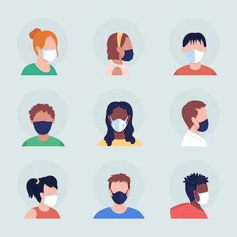 Gezicht die betrekking hebben op semi-egale kleur vector karakter avatar met masker set. portret met gasmasker van voor- en zijaanzicht. geïsoleerde moderne cartoon-stijlillustratie voor grafisch ontwerp en animatiepakket